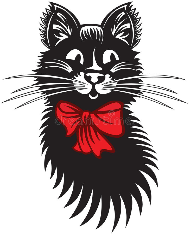 Download Funny Cat with Red Bow stock vector. Image of white, silhouette - 33545474