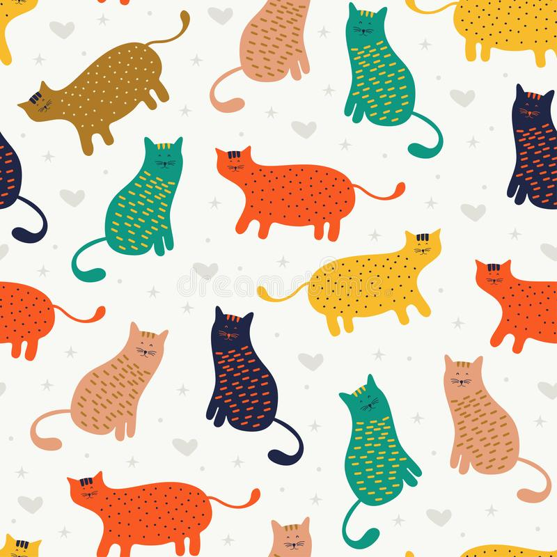 Funny cat seamless pattern good for baby and kids fashion textile print and wrapping. Vector illustration colorful decoration of. Pet animals, design, cute vector illustration
