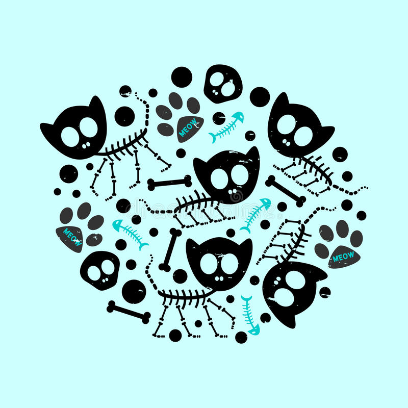 Download Funny cat skeletons stock vector. Image of sweet, baby - 30382341