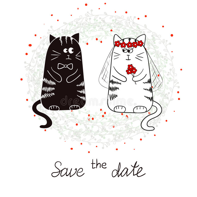 Funny cats, bride and groom. Wedding invitation vector illustration