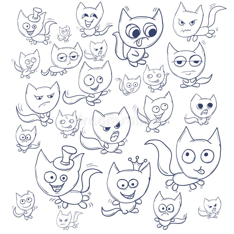 Funny cats contour. Suitable for childrens stories and fairy tales. Illustration royalty free illustration