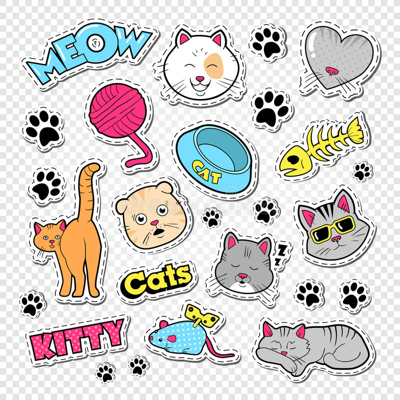Funny Cats Doodle with Stickers and Badges. Domestic Pets Set royalty free illustration
