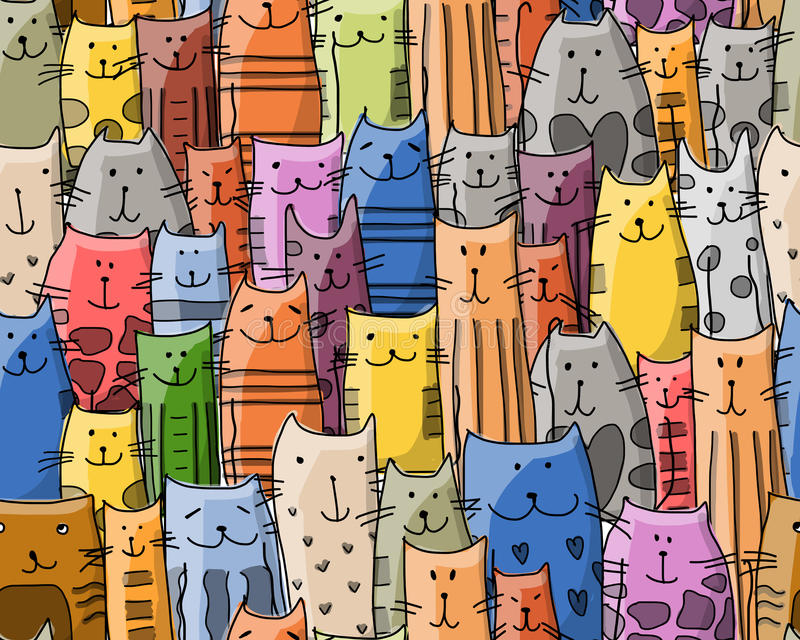 Funny cats family, seamless pattern for your design stock illustration