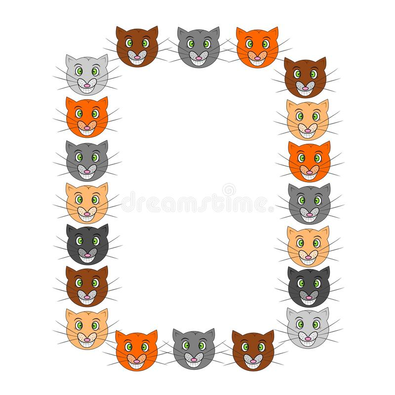 Funny cats frame stock vector. Illustration of sketch - 59561332