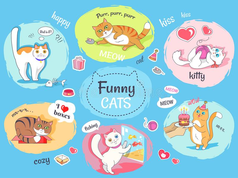 Funny Cats Poster with Images of Everyday Life royalty free illustration