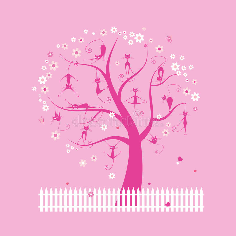 Download Funny Cats On Spring Tree For Your Design Stock Vector - Image: 18892122