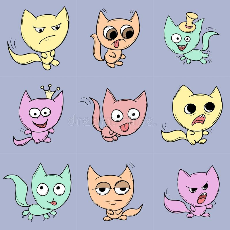 Funny cats. Suitable for childrens stories and fairy tales. Illustration royalty free illustration