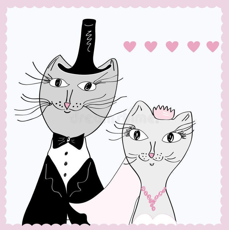 Funny cats wedding stock illustration