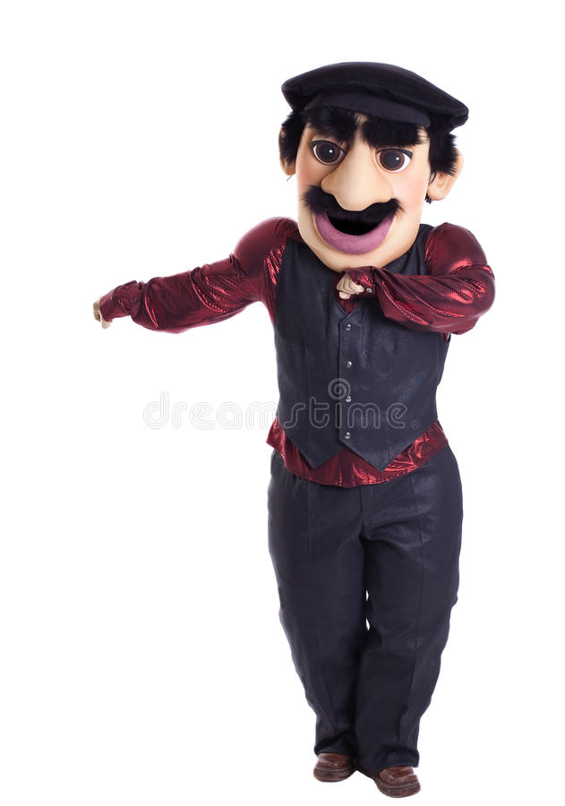 Funny caucasian man dance. Funny caucasian man stand mascot costume isolated stock image