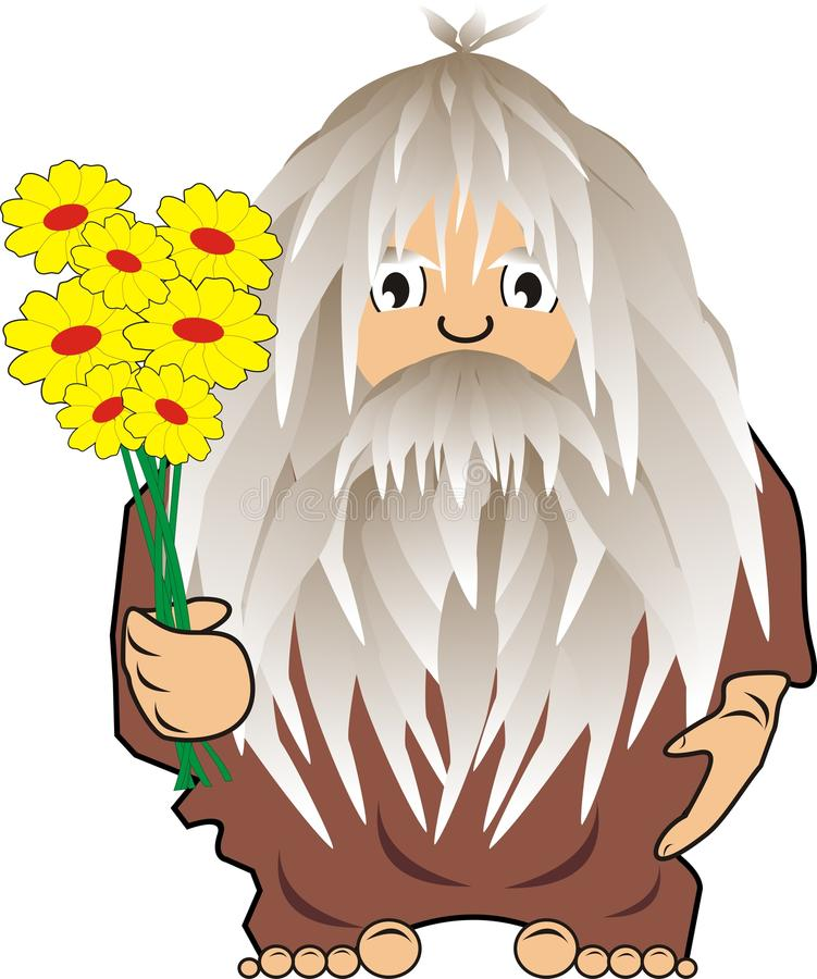 Funny Cave Man: Savage With Flowers Stock Photos