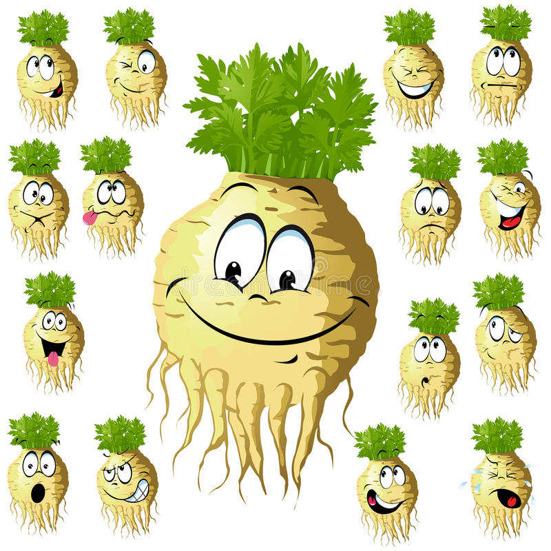 Funny celery cartoon. Celery cartoon with many expressions isolated on white background royalty free illustration