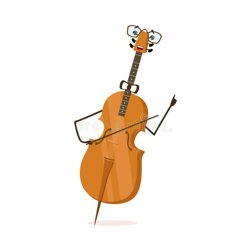 Funny Cello String Musical Instrument Cartoon Character Vector Illustration. On White Background royalty free illustration