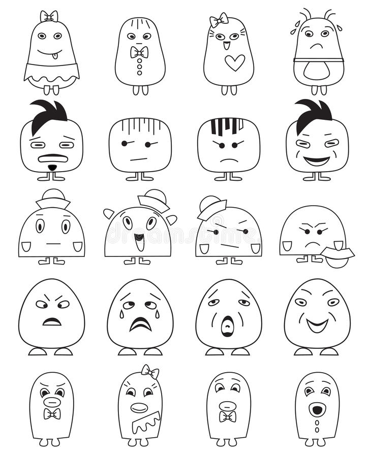 Funny character faces avatars. royalty free illustration