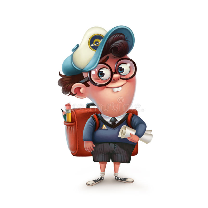 Funny character schoolboy. Graphic illustration. royalty free illustration