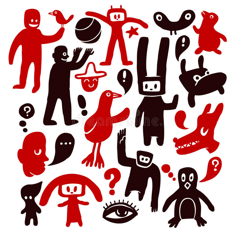 Funny characters. And doodles collection. Vector illustration. Vector illustration stock illustration
