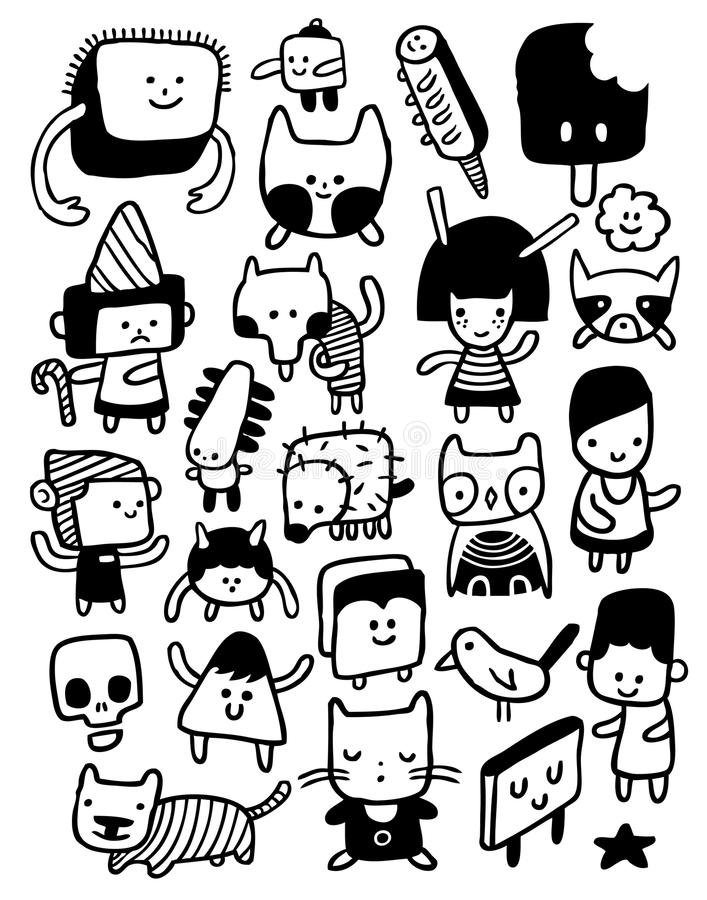 Funny characters. And doodles collection. Vector illustration royalty free illustration