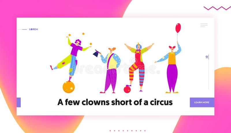 Funny Characters in Costumes for Circus Show or Entertainment. Clowns, Animators in Clown Suit, Curly Ginger Wig stock illustration