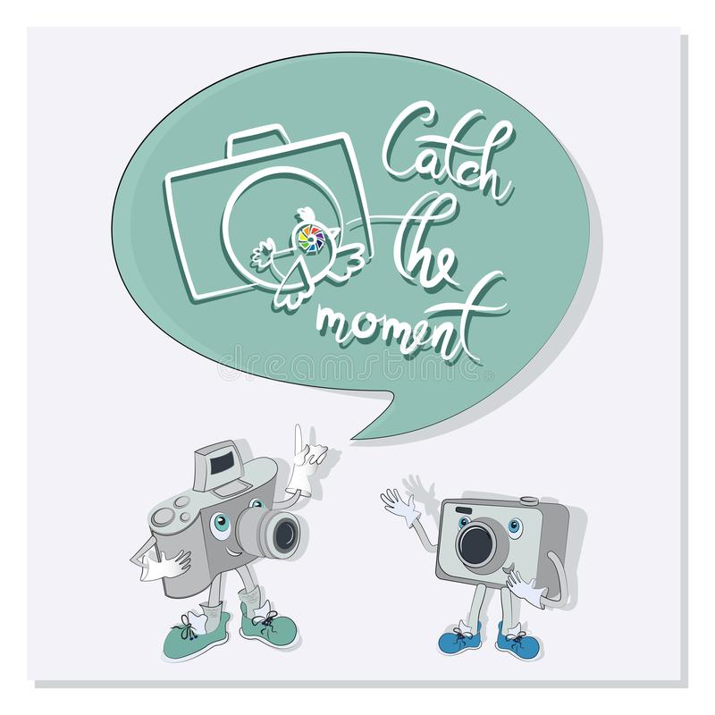 Funny characters with quote speech bubbles. Catch the moment. Poster with a two funny cameras. Composition with cameras, words and a bird. Design for the site royalty free illustration