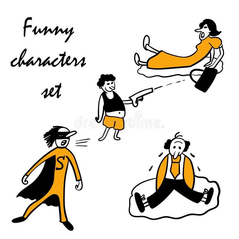 Funny characters set illustration royalty free illustration