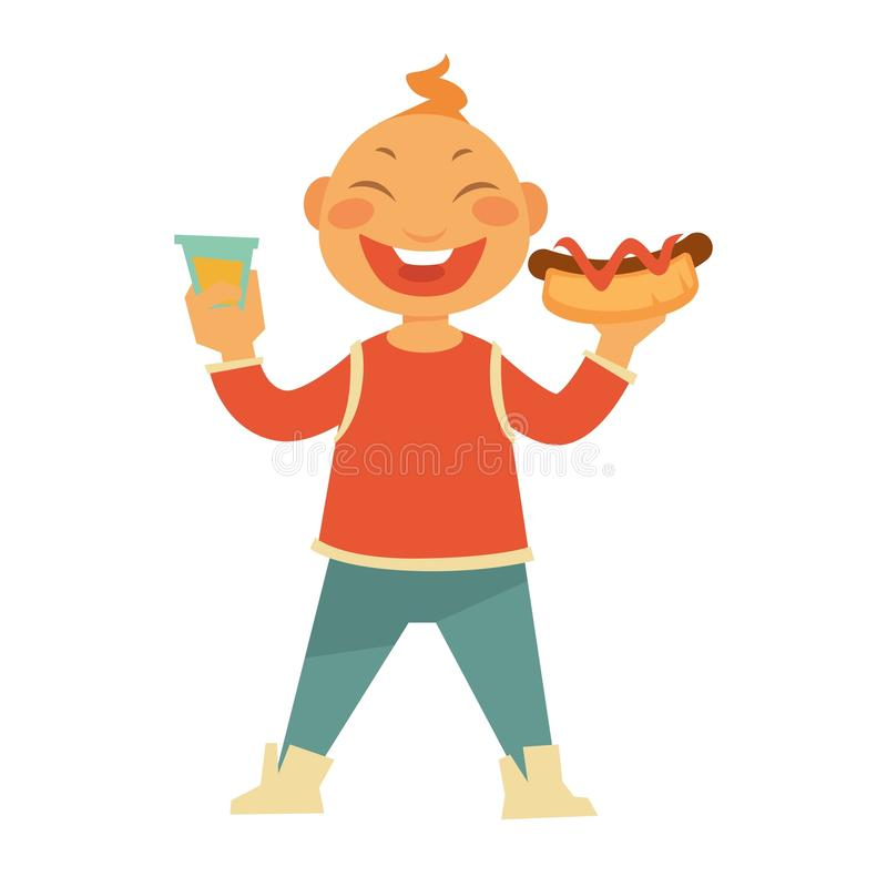 Funny cheerful child with hotdog and sweet soda royalty free illustration
