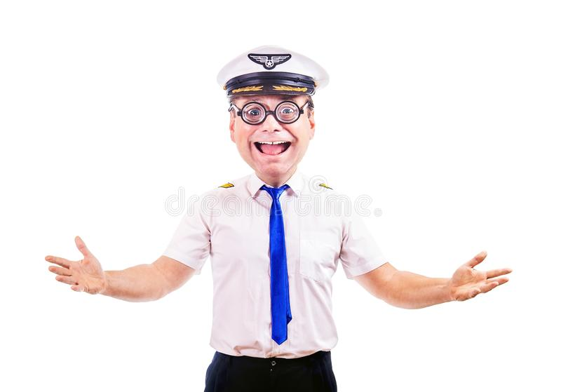 Funny cheerful pilot with glasses royalty free stock photography