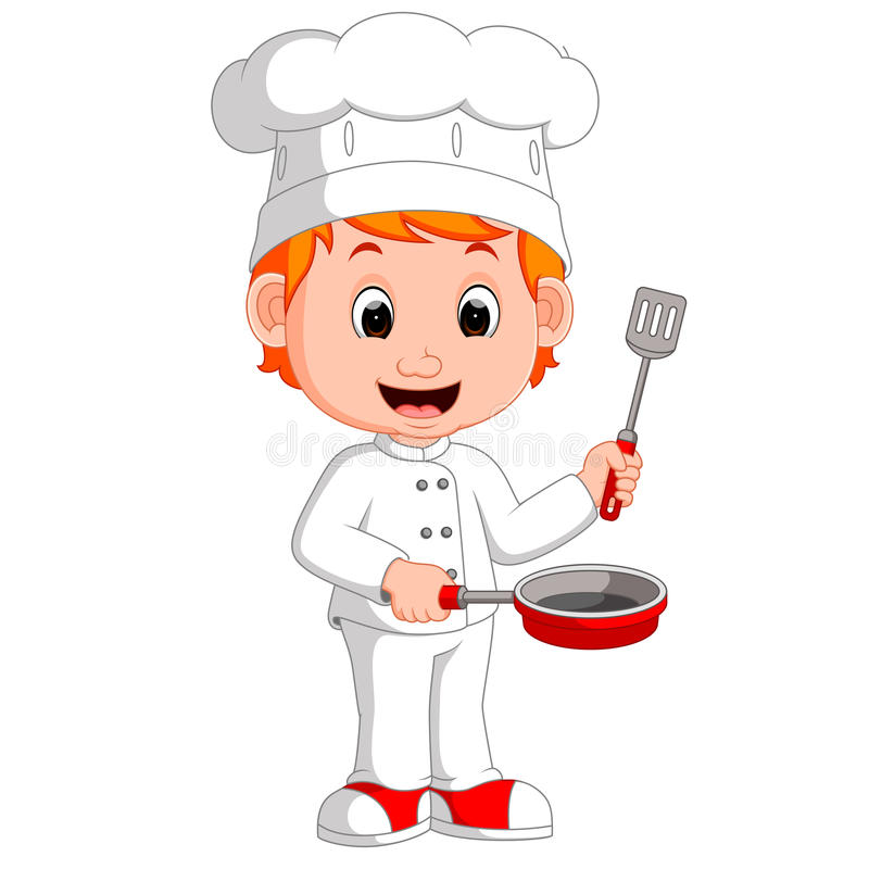 Funny chef holding frying pan. Cartoon funny chef holding frying pan royalty free illustration