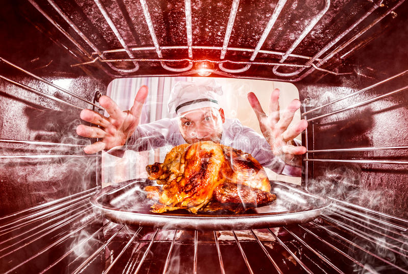Funny chef perplexed and angry. Loser is destiny! royalty free stock images