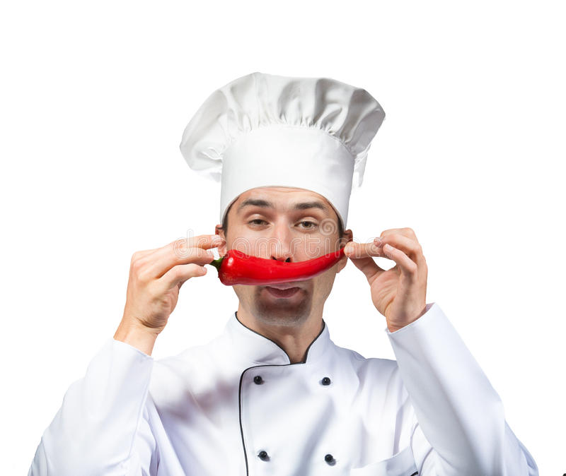 Funny chef. Funny portrait of a chef with a red pepper moustache, studio shot, white background stock photos