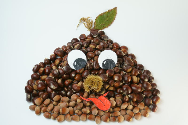 Funny chestnut with autumn leaf stock photo