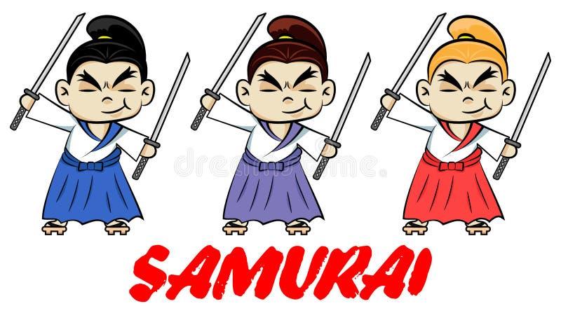 Funny chibi samurai with two katanas.  Cute ninja samurai warrior fighter character in three color styles. Design for print, t-shi stock illustration
