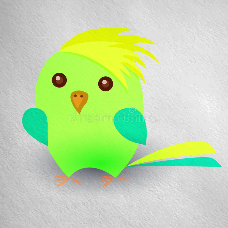 Funny chick parrot with a yellow crest, blue wings vector illustration