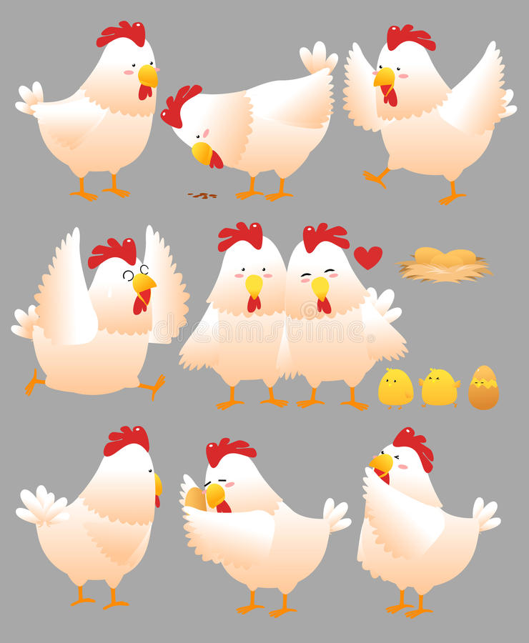 Free Funny Chicken Cartoon Collection 1 Royalty Free Stock Photography - 26212887