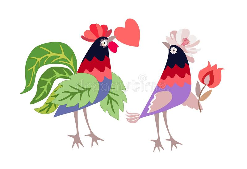 Funny chickens - romantic couple of rooster and hen with heart and flower in vector. Beautiful greeting or invitation card vector illustration