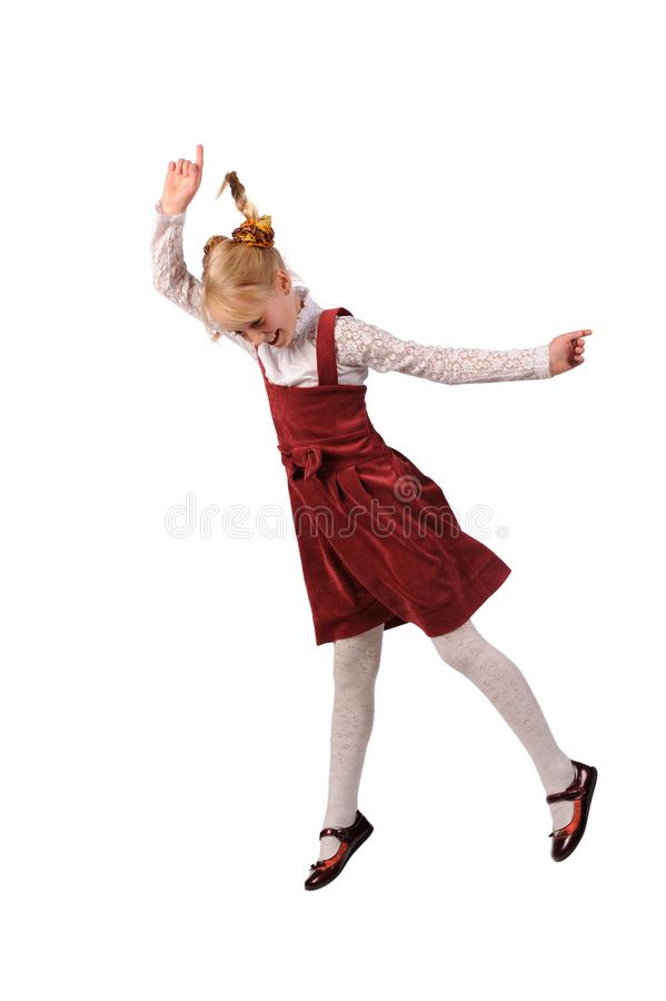 funny child girl jumping on a white background stock images