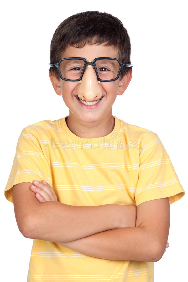 Funny child with glasses and nose joke stock photography