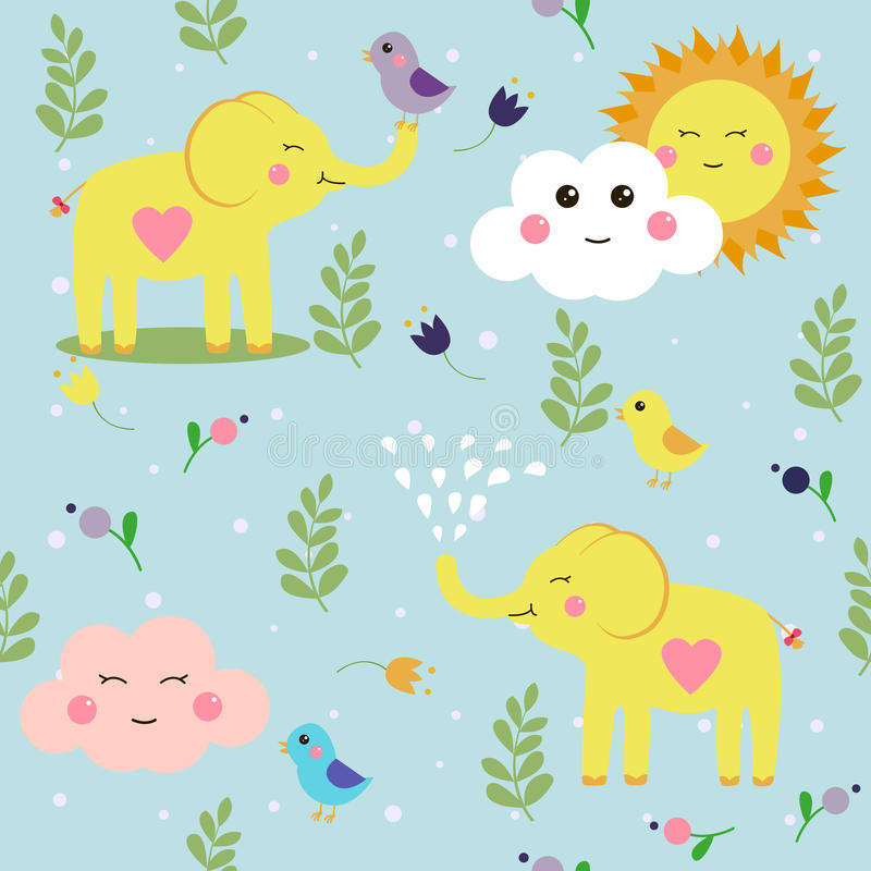 Funny childish elephants and birds cute seamless pattern for nice download funny childish elephants and birds cute seamless pattern for nice backgrounds stock vector voltagebd Image collections