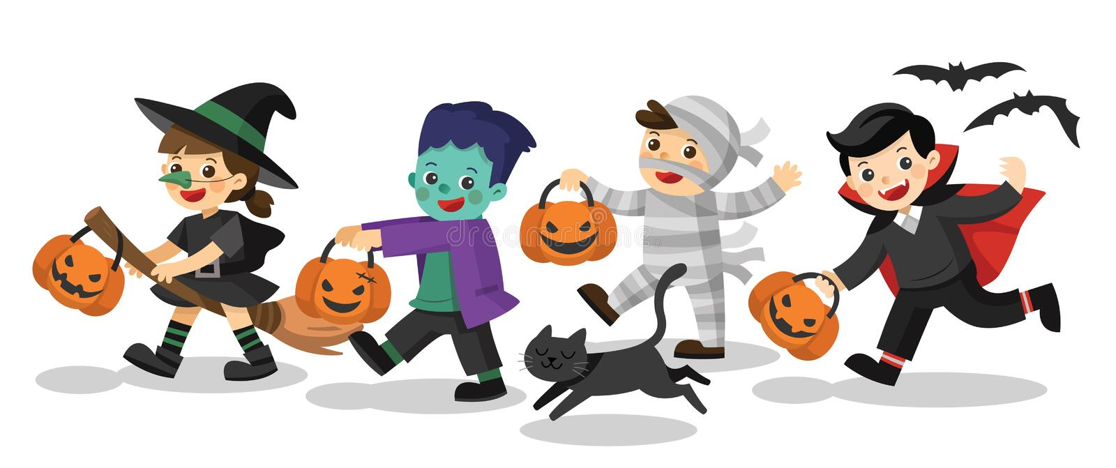 Funny children in colorful costumes and a cat. royalty free illustration