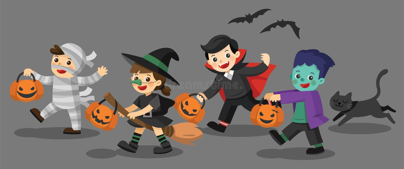 Funny children in colorful costumes and a cat. stock illustration