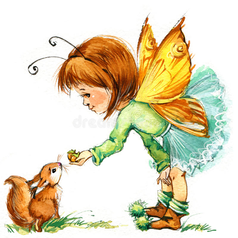 Funny children Fairy background. watercolor drawing vector illustration