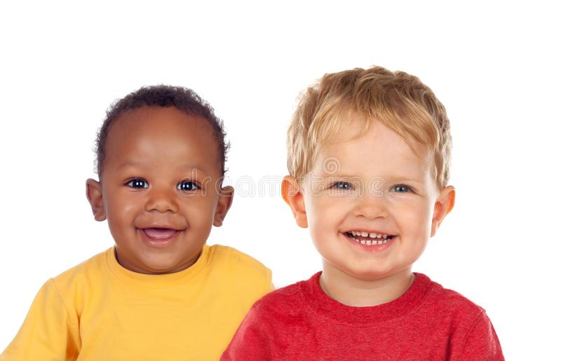 Funny children laughing. Isolated on a white background stock image