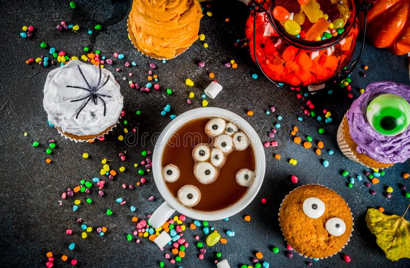 Funny children`s treats for Halloween royalty free stock photography