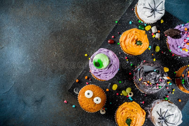 Funny children`s treats for Halloween stock photos