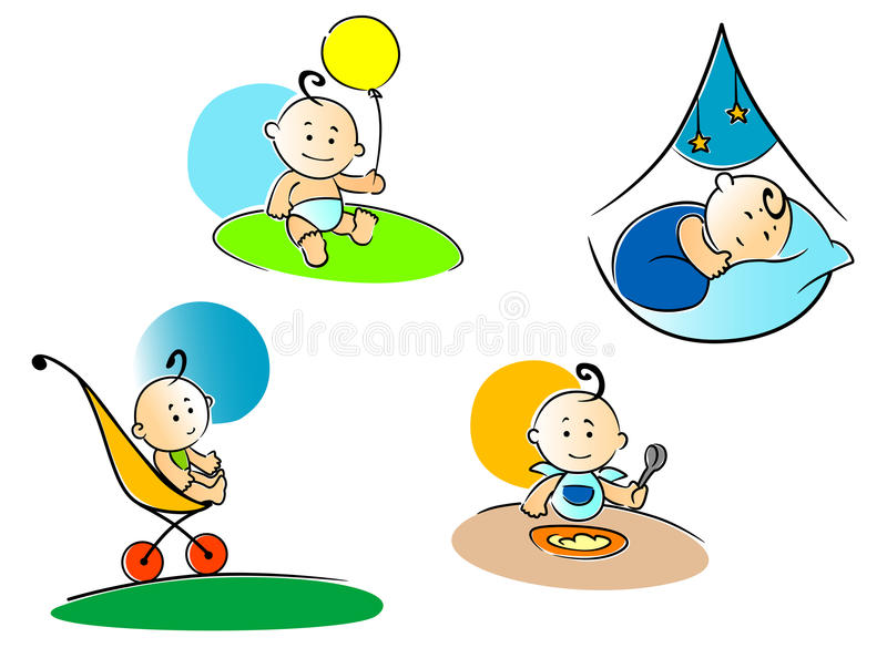 Funny childs playing, sleeping vector illustration