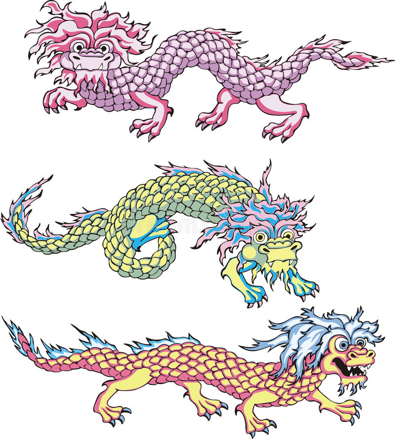 Download Funny chinese dragons stock vector. Image of dragon, asia - 26272080