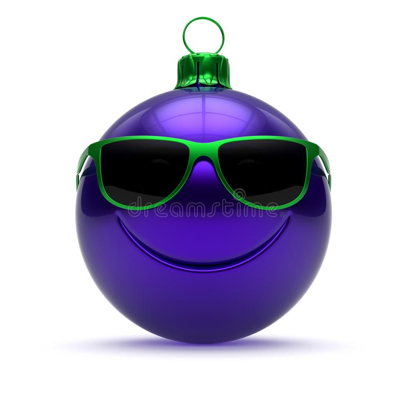 Funny Christmas ball face blue New Year`s Eve bauble cartoon stock images