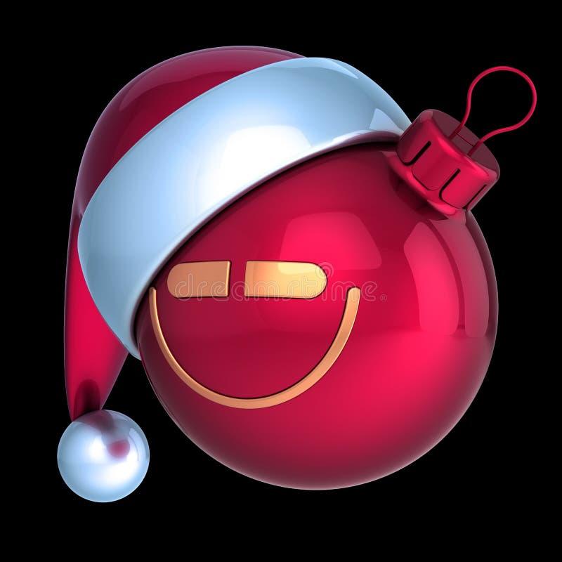 Funny Christmas ball smiling head Santa hat avatar emoji stock photos