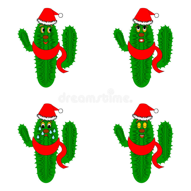 Funny christmas cacti stock illustration