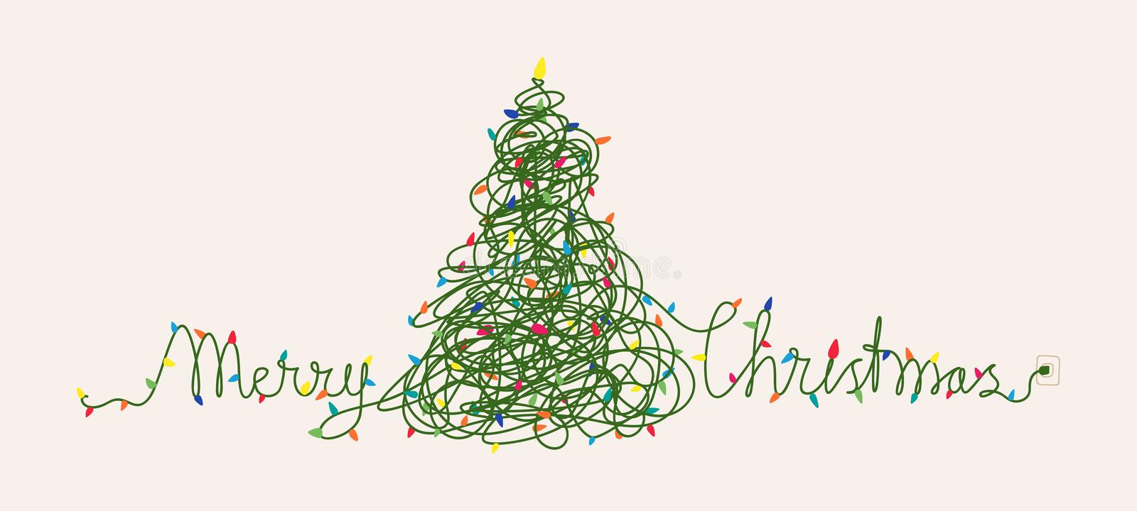 Funny Christmas card design, Christmas lights tangled up to shape Christmas tree and words Merry Christmas royalty free illustration