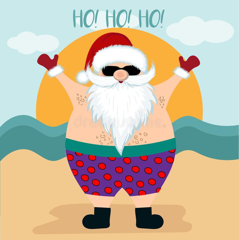 Christmas card with santa at beach stock illustration
