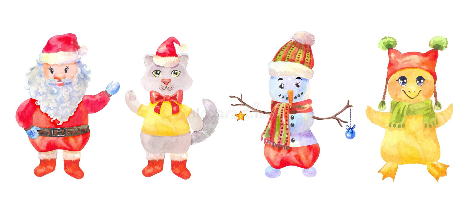 Funny Christmas characters drawn with watercolor isolated on white. New year characters. Funny santa, snowman, chick and cat in Christmas costumes. Watercolor royalty free illustration